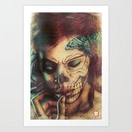 Skull Girl Art Print