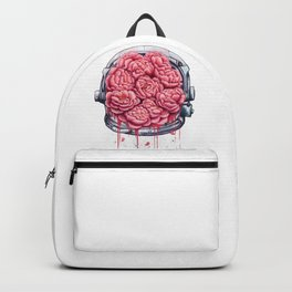 Cosmic peonies on white Backpack