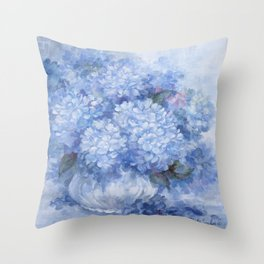 Hydrangeas in Blue Throw Pillow