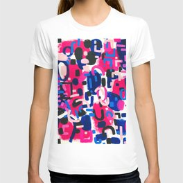 Magenta Blue Abstract Acrylic Painting Kusama Primitive Shapes T-shirt
