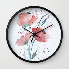 Red poppies in the sun floral watercolor painting Wall Clock