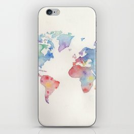 Watercolour world map iPhone Skin