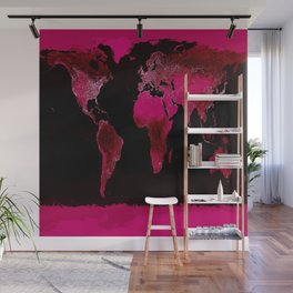 World Map Magenta Pink Wall Mural