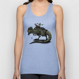 Zombies Riding a Trex Unisex Tank Top