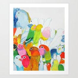 Flock of Birdies Art Print