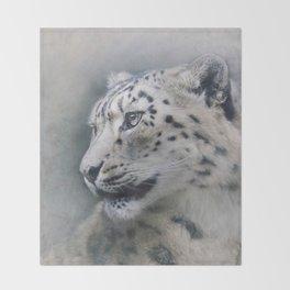 Snow Leopard profile Throw Blanket