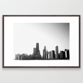 Distressed Chicago Skyline - Black & White Framed Art Print