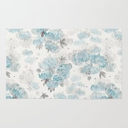 Watercolor Peonies Floral Pattern Rug