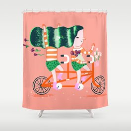 Biking Twin Shower Curtain