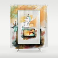 darwin Shower Curtains featuring Mrs. Darwin's Theory of Evolution ~ Self Portrait ~ Ginkelmier by Ginkelmier