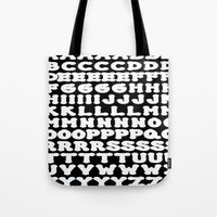 alphabet Tote Bags featuring Alphabet by Jeffrey J. Irwin