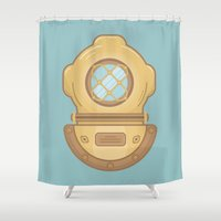 scuba Shower Curtains featuring Scuba by CaseyIllustrates