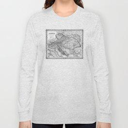 Vintage Map of Austria (1856) BW Long Sleeve T-shirt