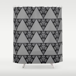 Abstract Damask Floral Triangle Gray and Black Geometric Shape Pattern Shower Curtain