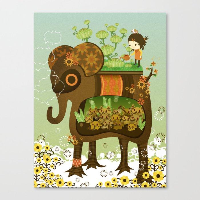Elephant Garden Canvas Print