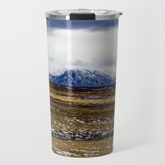 Snowy Mountain Across the Icy Tundra in Iceland Travel Mug