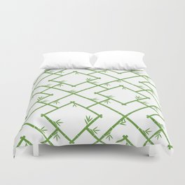 Bamboo Chinoiserie Lattice in White + Green Duvet Cover