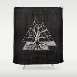 Valknut Symbol and Tree of life  -Yggdrasil Shower Curtain