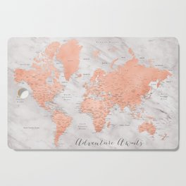 """Adventure awaits world map in rose gold and marble, """"Janine"""" Cutting Board"""