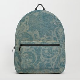 Antique rustic teal damask fabric Backpack