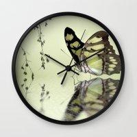 malachite Wall Clocks featuring Malachite reflection by Lyn Evans