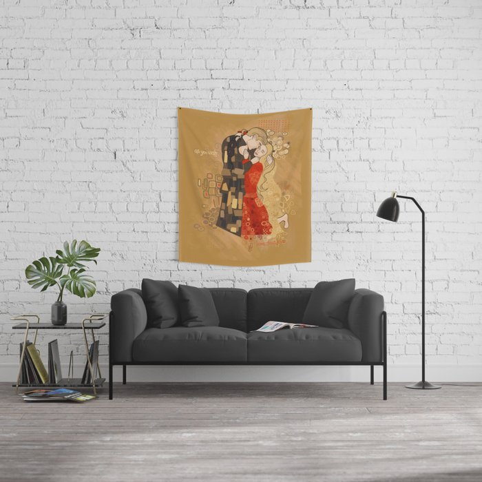 The Invention of the Kiss Wall Tapestry