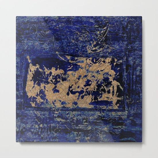 textures in blue Metal Print