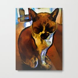 Brown and Yellow Cat on an Orange Floor Metal Print