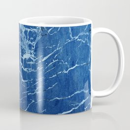 Cracks and Scratches on Midnight Blue Suede Leather Coffee Mug
