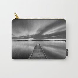 Jetty on a lake in black and white Carry-All Pouch