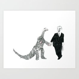 Dinosaur + Businessman = Love Art Print