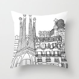 Barcelona, Spain Throw Pillow