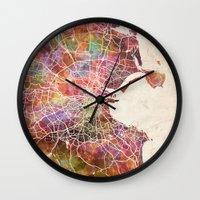 dublin Wall Clocks featuring Dublin map by MapMapMaps.Watercolors