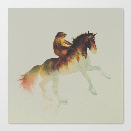 Sloth Riding a Horse Canvas Print