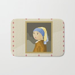 Girl with pearl by Vermeer  Bath Mat