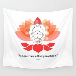 Buddha saying Namaste while sitting on a sacred lotus. Wall Tapestry