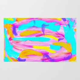 Explode Imagination - bright painting colorful abstract brushstrokes Rug