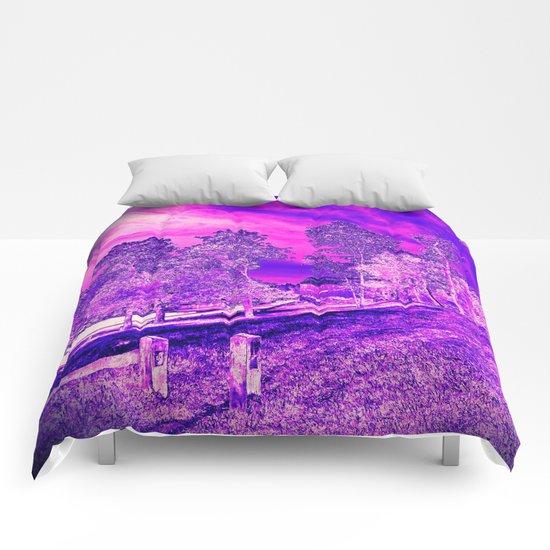 Pink N Purple Rural Scene Comforters