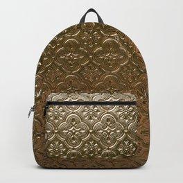 Metal golden texture embossed gold floral pattern Backpack