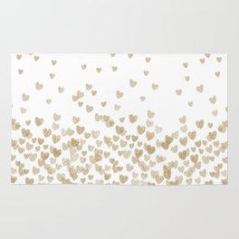 Gold Glitter Hearts - White Background for Valentines Day, Love, Bokeh, for trendy girls cell phone Rug