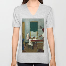 African American Masterpiece 'Saturday Morning Breakfast' by Horace Pippin Unisex V-Neck