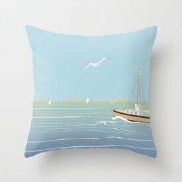 Seascape without sun Throw Pillow