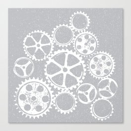 Old vintage rusty gears - white & gray Canvas Print