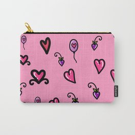 Valentine's Day Love & Hearts Sketchy Doodles Carry-All Pouch