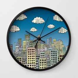 The city of paper clouds Wall Clock