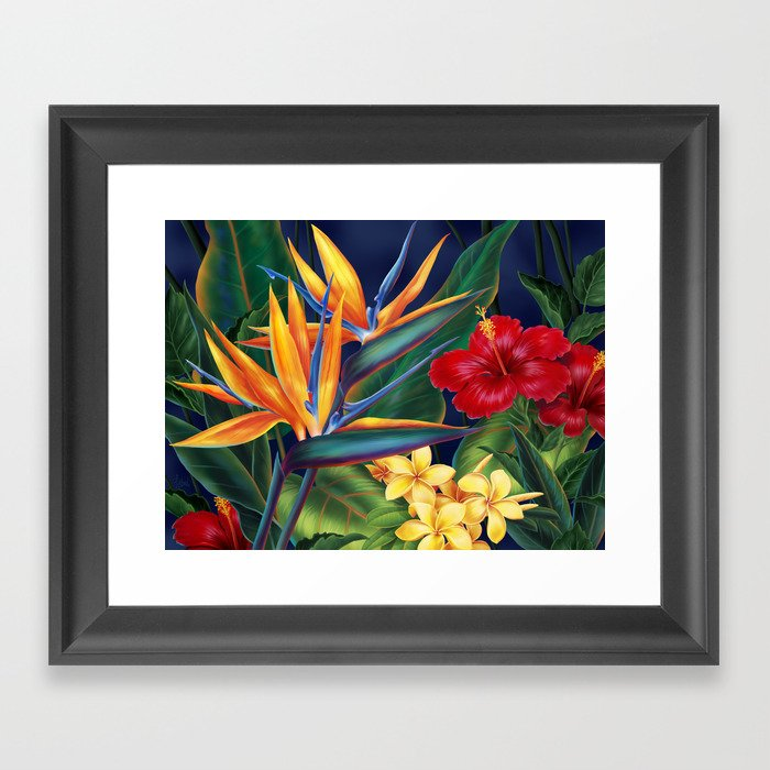 Tropical Paradise Hawaiian Floral Illustration Gerahmter Kunstdruck