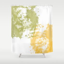 Green and Yellow Paint Patch Shower Curtain