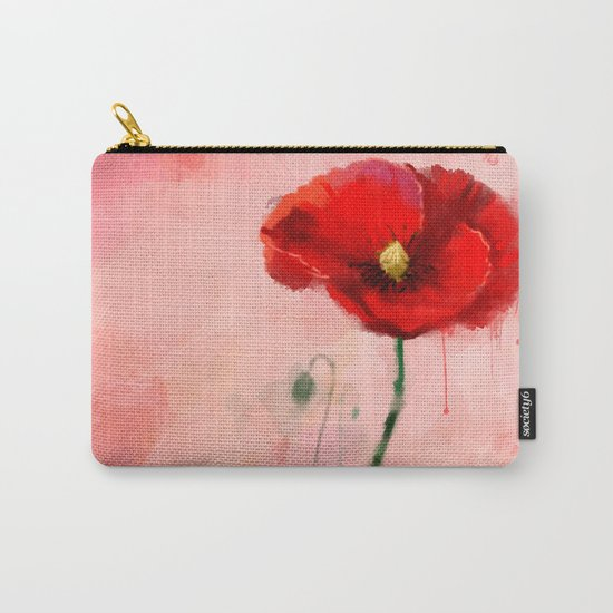 Red Poppy watercolor digital painting Carry-All Pouch
