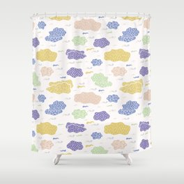 Hand drawn vector cloud illustration Shower Curtain