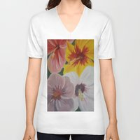 hibiscus V-neck T-shirts featuring Hibiscus by Lark Nouveau Studio